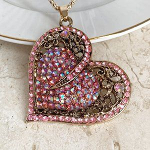 Jewelry - NEW Sparkly Pink Rhinestone Double Heart Necklace